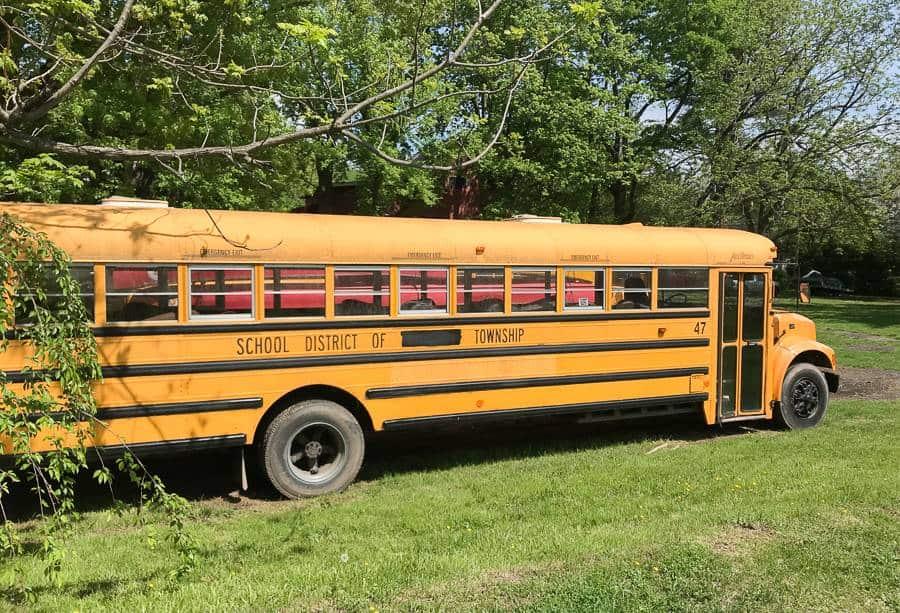 żóły autobus szkolny w stanach